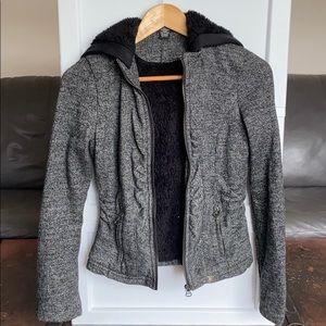 Black/Grey Fuzzy Jacket Zip Up With Hood size xs